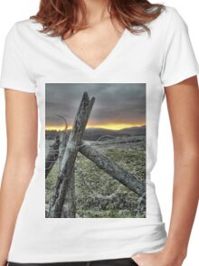 Fence At Sunset Women's Fitted V-Neck T-Shirt