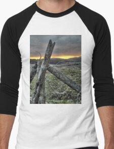 Fence At Sunset Men's Baseball ¾ T-Shirt