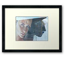 blond girl on advertisement Framed Print