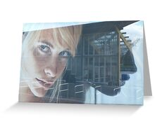 blond girl on advertisement Greeting Card