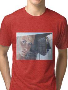 blond girl on advertisement Tri-blend T-Shirt