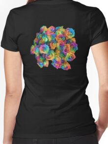 ROSES, ROSE, Rainbow, Bunch, Flowers, Colour, Colourful Women's Fitted V-Neck T-Shirt