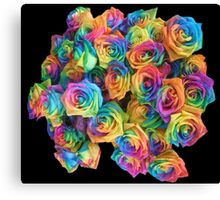 ROSES, ROSE, Rainbow, Bunch, Flowers, Colour, Colourful Canvas Print