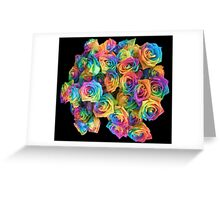 ROSES, ROSE, Rainbow, Bunch, Flowers, Colour, Colourful Greeting Card