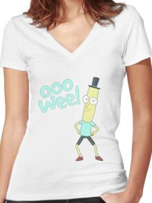 Mr pooptbutthole- Rick and Morty Women's Fitted V-Neck T-Shirt