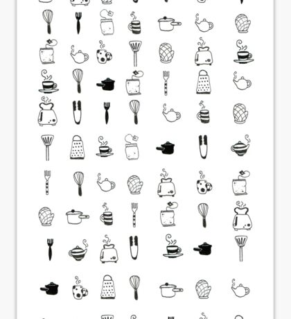 Kitchen utensil patterns Sticker