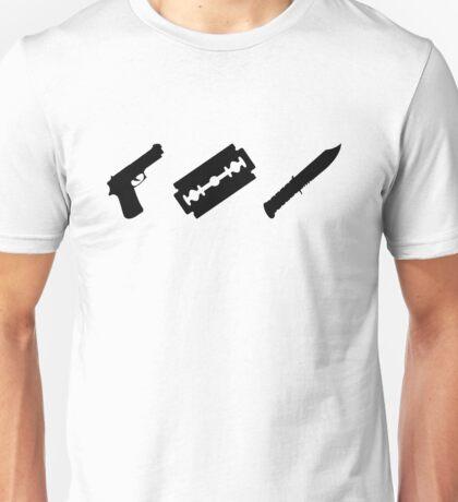 Guns, Razors, Knives (Black) Unisex T-Shirt