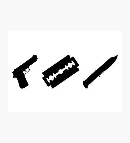 Guns, Razors, Knives (Black) Photographic Print
