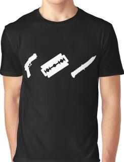 Guns, Razors, Knives (White) Graphic T-Shirt