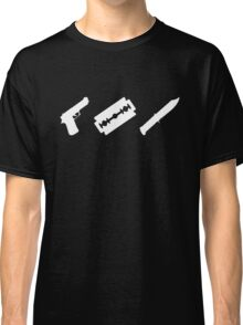 Guns, Razors, Knives (White) Classic T-Shirt