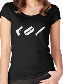 Guns, Razors, Knives (White) Women's Fitted Scoop T-Shirt