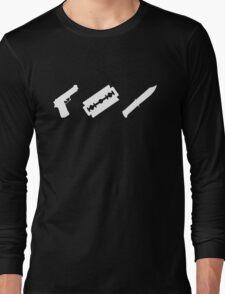 Guns, Razors, Knives (White) Long Sleeve T-Shirt