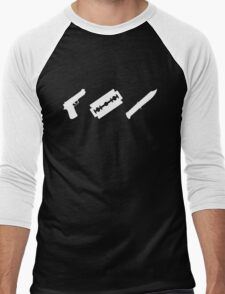 Guns, Razors, Knives (White) Men's Baseball ¾ T-Shirt