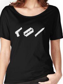 Guns, Razors, Knives (White) Women's Relaxed Fit T-Shirt