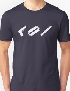 Guns, Razors, Knives (White) Unisex T-Shirt
