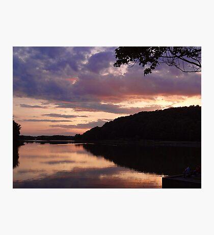 Night fall at the lake Photographic Print
