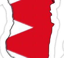 Bahrain Map With Bahrani Flag Sticker