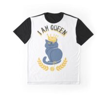 Blue cat with a gold crown Graphic T-Shirt