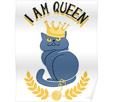 Blue cat with a gold crown Poster