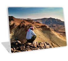 A local beduin looks out over the desert mountains Photographed in Jordan Laptop Skin