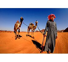 A Bedouin with his two camels. Photographed in Jordan Photographic Print