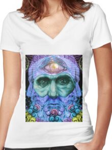 PSYCHEDELIC Old men Women's Fitted V-Neck T-Shirt