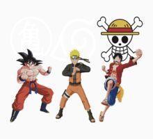 Goku-Naruto-Luffy Kids Tee