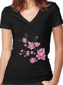 Cherry blossoms I Women's Fitted V-Neck T-Shirt