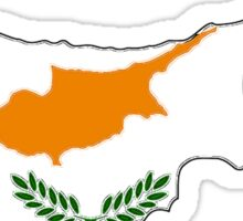Cyprus Map With Cypriot Flag Sticker