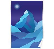 Icy winter Matterhorn mountain in blue colors  Poster
