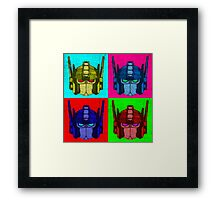 Optimus Prime - 4 Pop Art images with text Framed Print