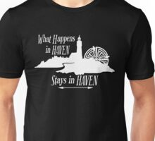 What Happens In Haven Lighthouse White Logo Unisex T-Shirt