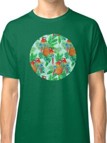 Pineapples and Parrots Tropical Summer Pattern Classic T-Shirt