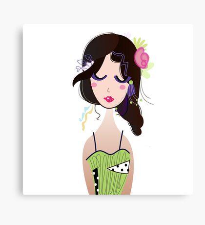 Fashion Vintage Girl in Green Dress Illustration Art ( Luxury Green Edition ) Canvas Print