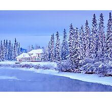 Winter Home On Alaska River Photographic Print