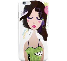 Fashion Vintage Girl in Green Dress Illustration Art ( Luxury Green Edition ) iPhone Case/Skin