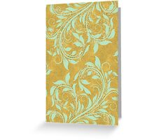 Mint green damask, on gold sparkle foil Greeting Card