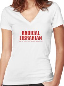 Radical Librarian (Red) Women's Fitted V-Neck T-Shirt