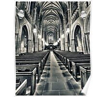 Aisle in Duke Chapel in Black and White Poster