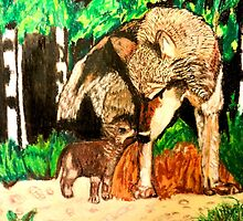 MAMA WOLF AND CUB by JoAnnHayden