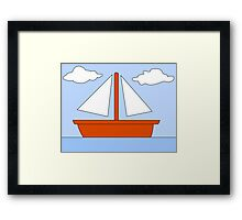 Cartoon Boat Picture Framed Print