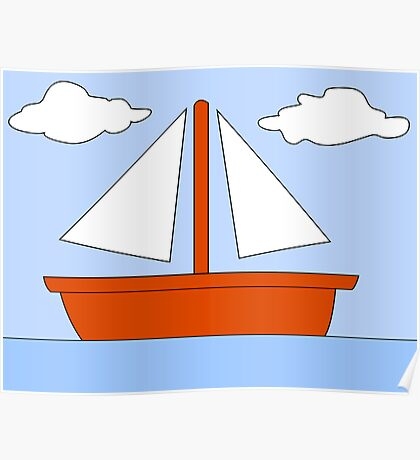 Cartoon Boat Picture Poster