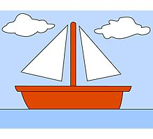 Cartoon Boat Picture Photographic Print