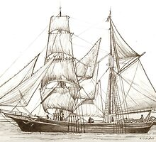 sailboat pirate ship drawing by RobCrandall