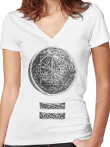 MAYAN Logo The Door Women's Fitted V-Neck T-Shirt