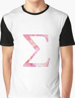 Pink Sigma Watercolor Lettter Graphic T-Shirt