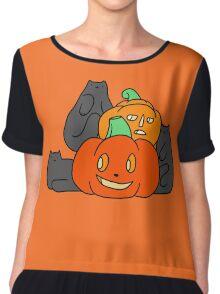 Cats and Pumpkins Chiffon Top