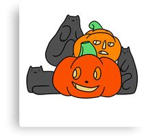 Cats and Pumpkins Canvas Print