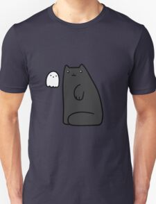 Black Cat and Tiny Ghost Unisex T-Shirt