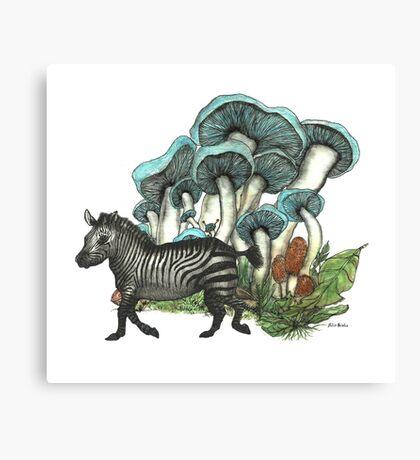 Dancing Zebra Losts in Blue Dizzy Fungi Forest Canvas Print